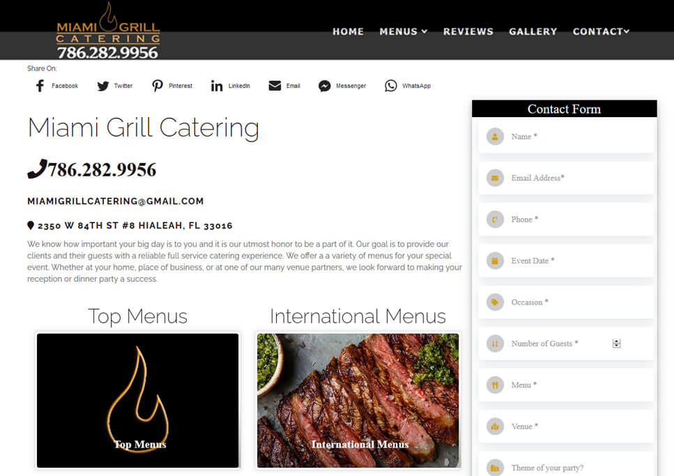 SEO Website | Venues & Catering Services
